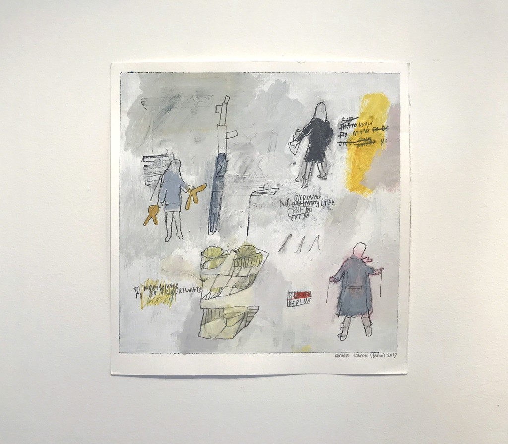 """""""Storylines: Works on Paper by Sally Gil & Jimmie James,"""" installation view. Jimmie James, """"this is no ordinary life,"""" 2017, acrylic and graphite on watercolor paper, 13 x 13 in."""