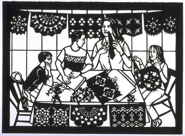 , 'Haciendo Papel Picado/Making Paper Cutouts,' 1998, Bellevue Arts Museum