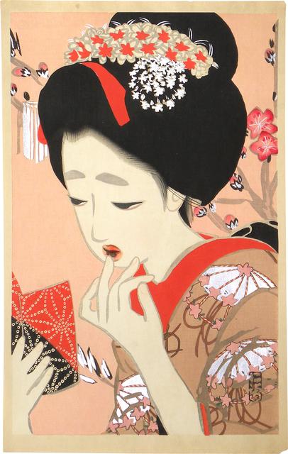 Kitano Tsunetomi, 'Comparison of New Ukiyo-e Beauties: March, Lipstick', ca. 1918, Scholten Japanese Art