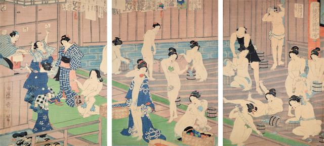 Toyohara Kunichika, 'Comparison of Nudes to Irises at the Public Bath', 1868, Ronin Gallery