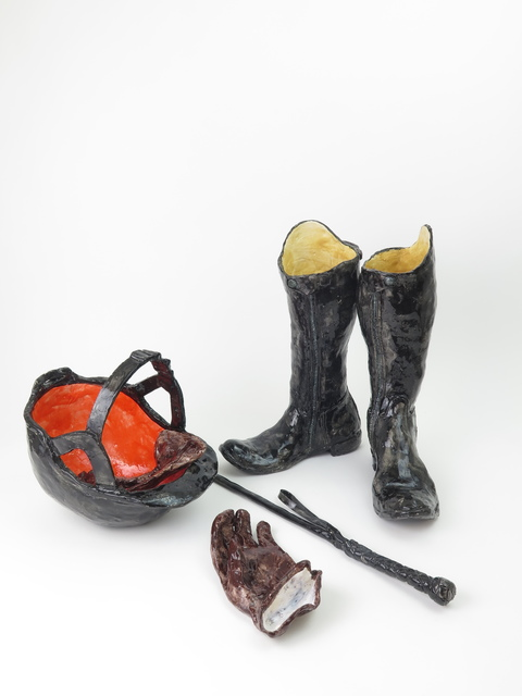, 'Riding Boots with Helmet, Gloves, and Whip,' 2017, The Hole