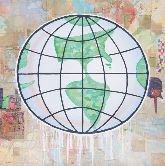 Donald Baechler, 'Globe', 2010, Mixed Media, Acrylic, Screenprint and fabric collage on canvas, Brintz Gallery