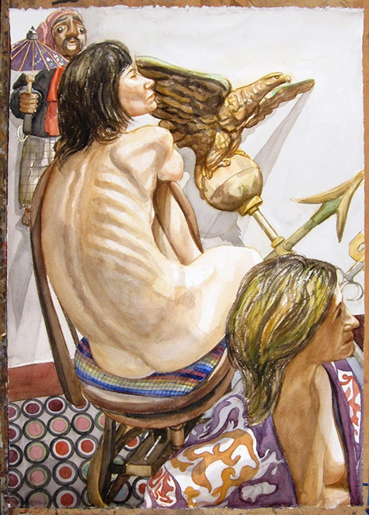Philip Pearlstein, 'Two Models, Eagle Weathervane and Marionette,' 2008, FRED.GIAMPIETRO Gallery