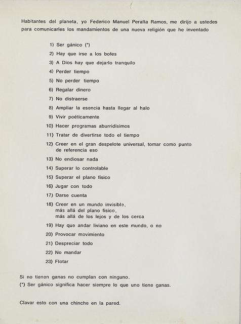 , 'Mandamientos Gánicos,' 1966 / Intervenido en 1977, Del Infinito