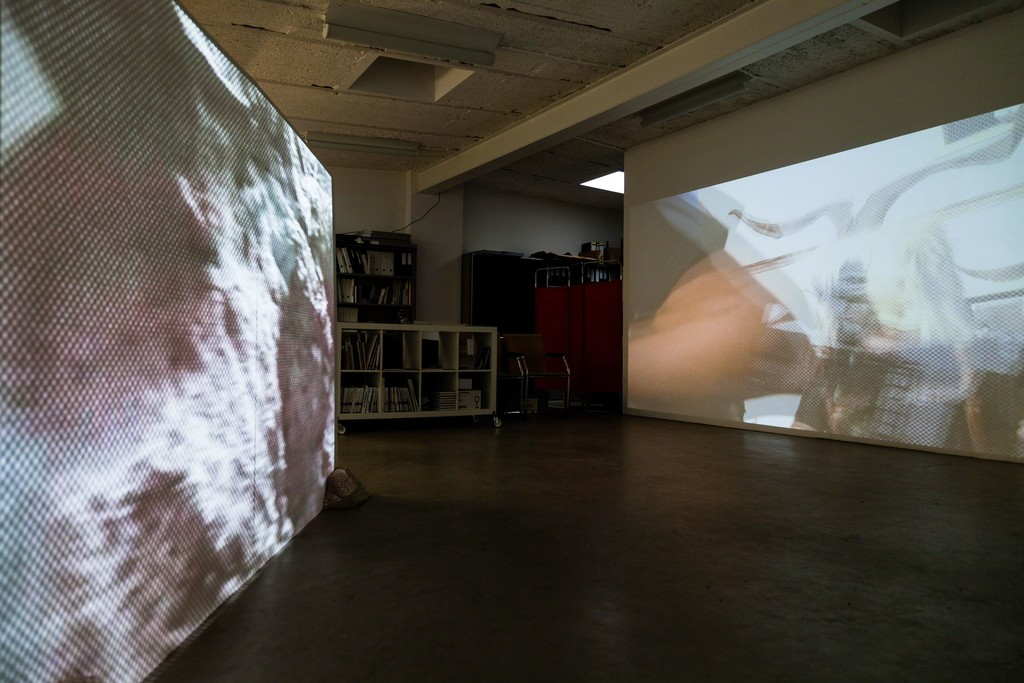 "stöckerselig, ""360 Grad"" video installation, with sound, two projectors, unique copy, 2014 