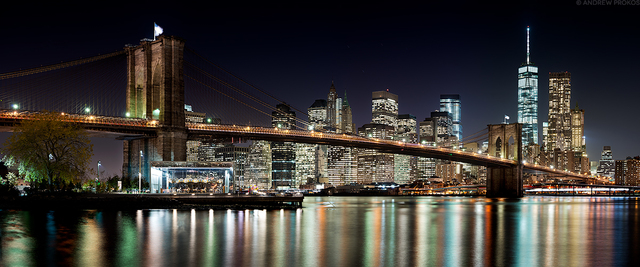 Andrew Prokos, 'Panoramic View of Brooklyn Bridge and Manhattan at Night', 2018, Andrew Prokos Gallery