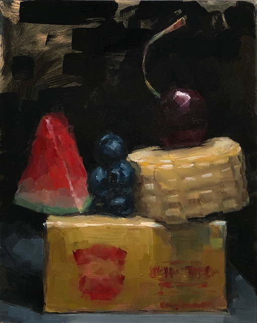 Tom Giesler, 'Small Summer #1: little butter stick, tiny slice of baby watermelon, mini pile of blueberries, short corn, cherry on top', 2019, Painting, Oil on panel, McVarish Gallery