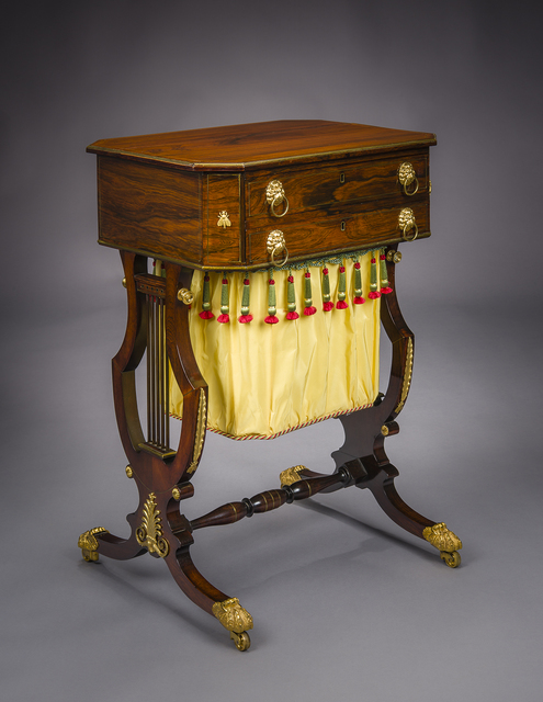 Thomas Seymour, 'Neo-Classical Work Table with Lyre Ends', ca. 1815, Design/Decorative Art, Rosewood, Hirschl & Adler