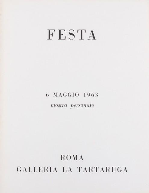 Tano Festa, 'Festa', 1963, Finarte