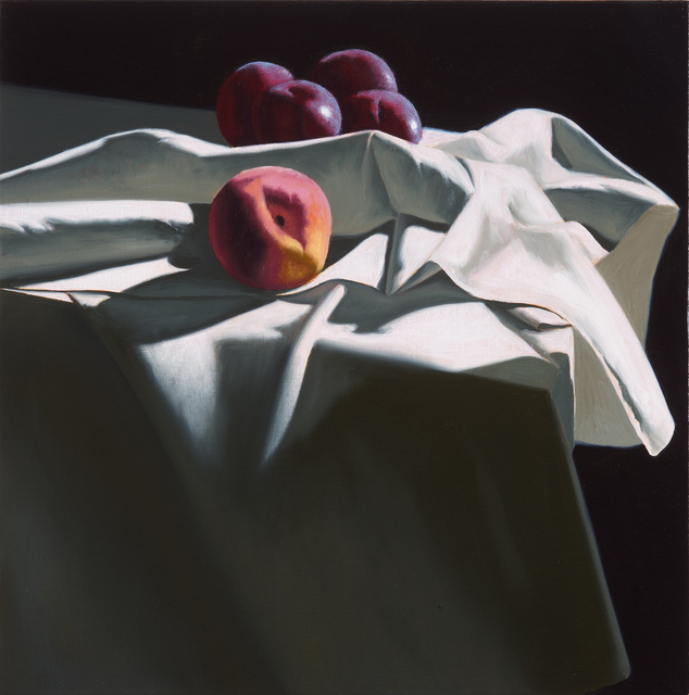 , 'Still Life with Peach and Four Plums,' 2017, Leslie Sacks Gallery