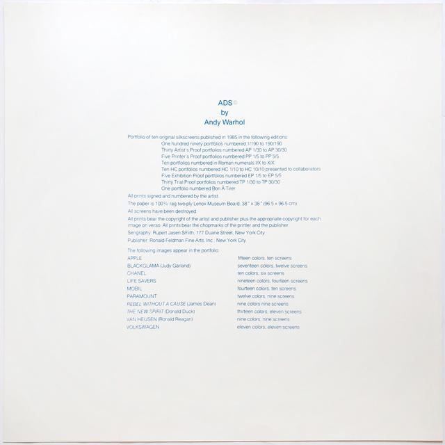 , 'Ads Portfolio (F&S 350-359) colophon page ,' 1985, Joseph K. Levene Fine Art, Ltd.