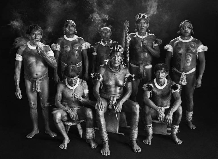 Group portrait of Kamayura shamans. Upper Zingnu, Mato Grosso, Brazil.