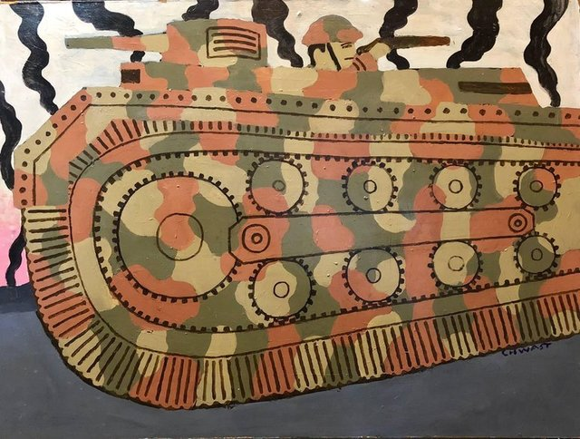Seymour Chwast, 'Large Oil Painting Of Cartoony Camouflage Tank in Illustration Style', 20th Century, Painting, Board, Paint, Lions Gallery