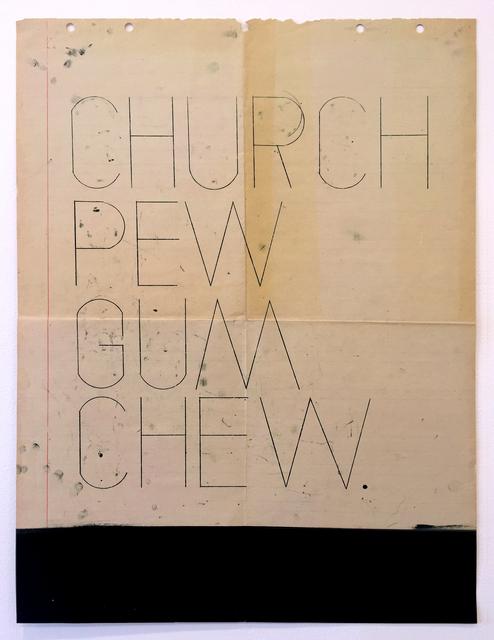 , 'Church Pew Gum Chew,' 2013, devening projects