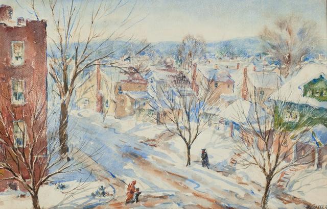 , 'Newark Street Snow Scene in Sunlight with Figures,' , Questroyal Fine Art