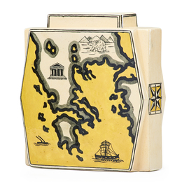 Vase with maps of Italy and Greece