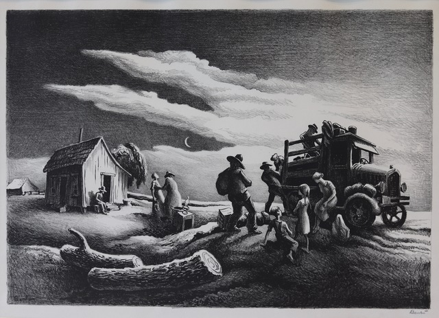 Thomas Hart Benton, 'Departure of the Joads', 1939, Print, Lithograph, Aaron Galleries