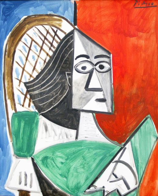 Pablo Picasso, 'Femme assise sur fond bleu-rouge', 1956, MK Fine Art