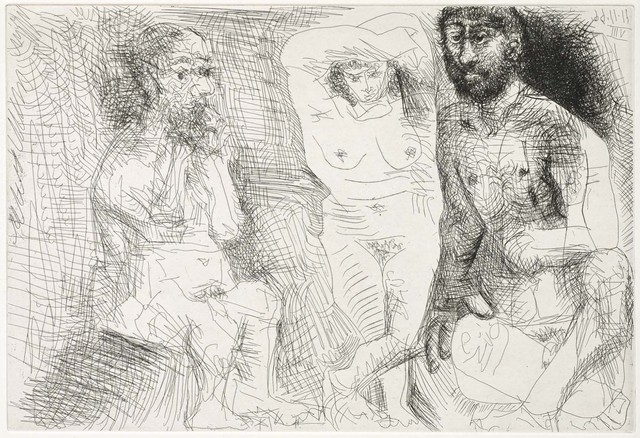 Pablo Picasso, 'Two Bearded Men with a Naked Woman (El Entierro del Conde de Orgaz, B.1467)', 1969, Martin Lawrence Galleries