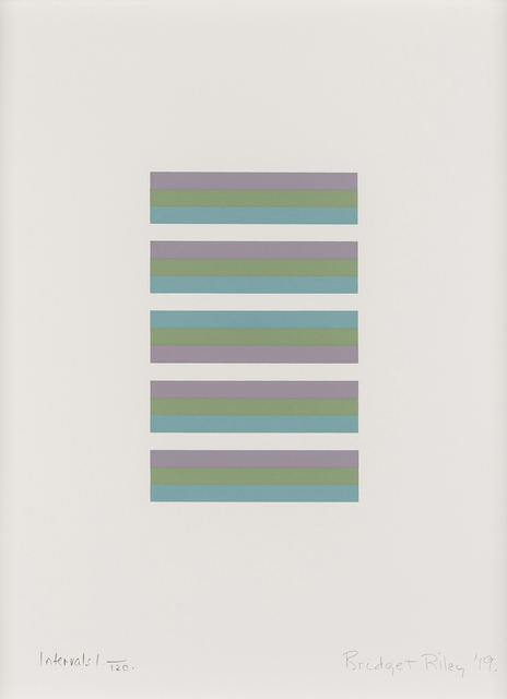 Bridget Riley, 'Intervals 1', 2019, Print, Screenprint in colours on white wove paper, Lougher Contemporary