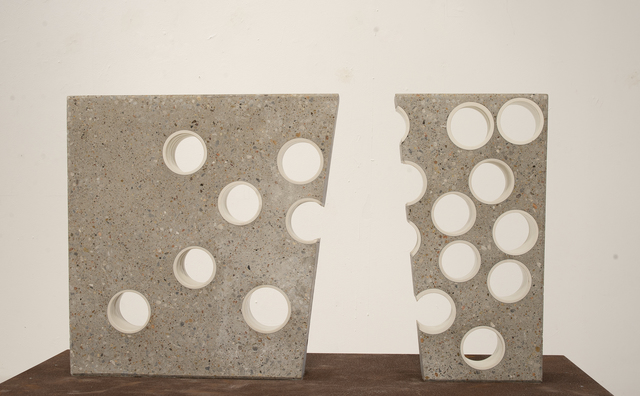Thomas Lowell Edwards, 'Voids', 2019, Sculpture, Wheel thrown high fired porcelain altered post firing, embedded in concrate and polished, Linda Matney Gallery