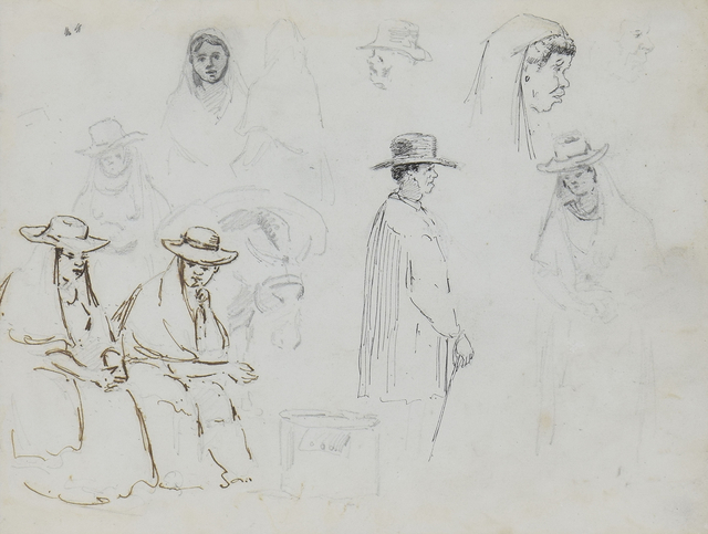 , 'Two Seated Women and a Man in Profile with Studies of Figures and a Mule Carrying a Load,' 1852-1854, Russell Collection