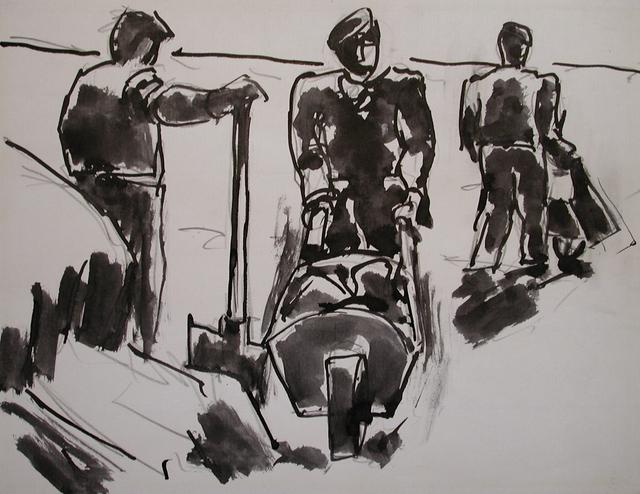 , 'Three men with wheelbarrows,' 1969, Connaught Brown