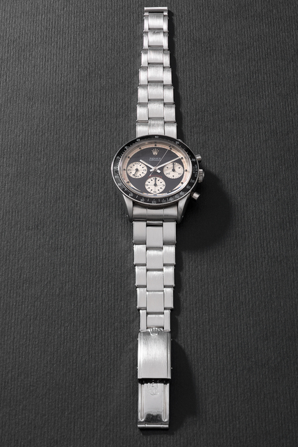 """Rolex, 'An iconic, rare and highly attractive stainless steel chronograph wristwatch with black """"Paul Newman"""" dial and bracelet', Circa 1967, Phillips"""