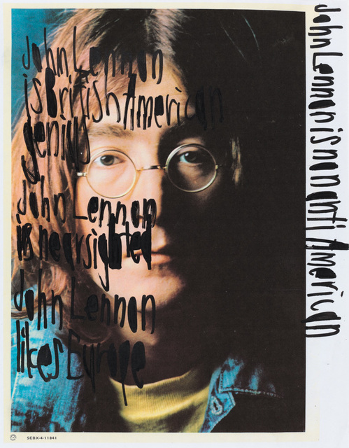 , 'John Lennon is non anti american [framed],' ca. 2010, Creativity Explored