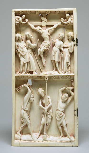 'Diptych Leaf with the Crucifixion and Flagellation', Early 14th century, Walters Art Museum
