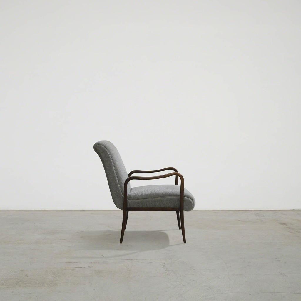 Pair of Leve armchairs by Joaquim Tenreiro Brazil, 1950s Designed in 1942 Manufactured by Tenreiro Móveis e Decorações Solid jacaranda wood, fabric upholstery  80 x 65 x h 78 cm | h seat 40 cm 31.4 x 25.5 x h 30.7 in | h seat 15.7 in