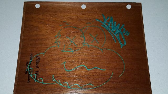 KAWS, 'Signed 'Cloud' Drawing, Metallic Green Paint Wood Sheet', 2010, VINCE fine arts/ephemera