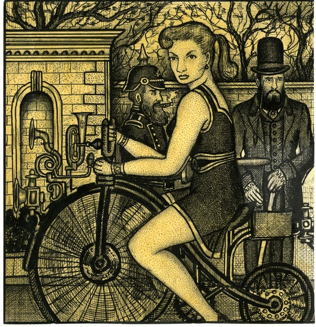 Renaldo Kuhler, 'Janet Lingart Riding a Bike; Maestro Chevaliere Standing in the Background', 1958, Ricco/Maresca Gallery