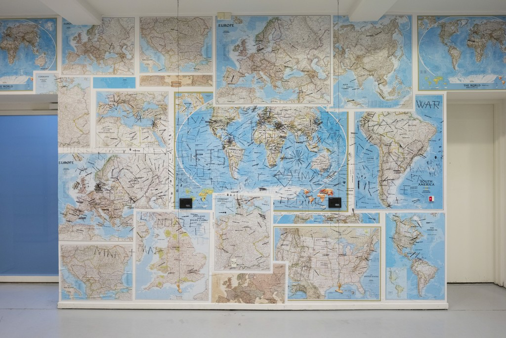 Yoko Ono, 'Imagine Peace Maps', 2013 - 2017. World maps and self-inking stamps. Installation view, Kunsthal Charlottenborg, 2017. Photo by Anders Sune Berg