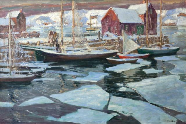 Jonas Lie, 'Wharf in Winter', ca. 1920, Painting, Oil on linen, Montclair Art Museum