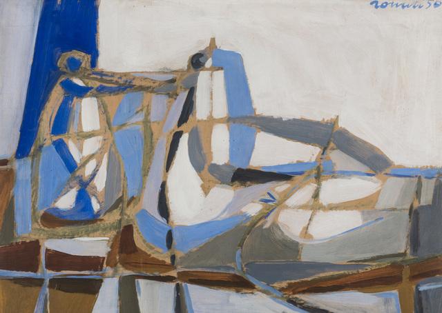 Sergio Romiti, 'Natura morta in azzurro', 1950, Painting, Oil on paper transferred to canvas, Martini Studio d'Arte