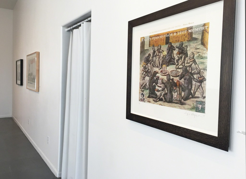"Gallery view, Chagoya prints including the latest, ""President's Xenophobic Nightmare in a Foreign Language."""