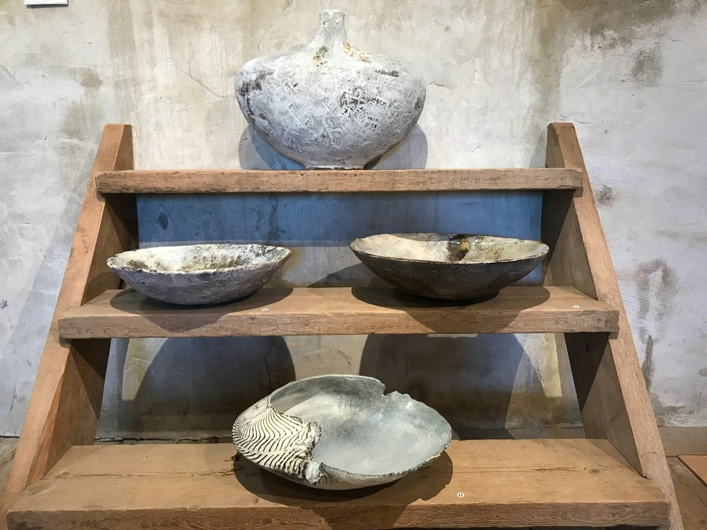 Ceramics by Adela Powell: Large Bottle Form, two River Bowls and Blue Shell Form.