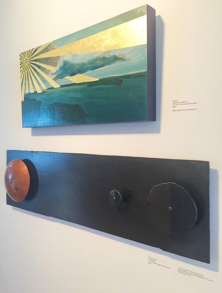 """Eclipse"" 10"" x 12"" Kate Hooray Osmond oil and gold leaf on panel, ""Not to Scale 01"" 8"" x 30"" JP Shepard brass, steel, copper"
