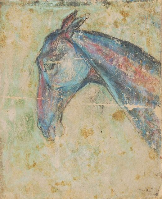 ", 'Horse VI, Pastel on Sand Paper by Padma Shree Artist Sunil Das ""In Stock"",' 1950, Gallery Kolkata"