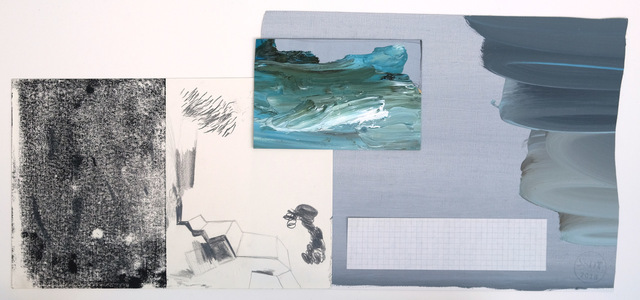 Susanne S. D. Themlitz, 'Página de un posible diario de viaje', 2018, Mixed Media, Woodcut and graphite on paper, oil and acrylic on canvas, graph paper, Ángeles Baños