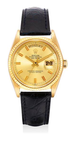Rolex, 'A well-preserved and rare yellow gold wristwatch with sweep center seconds, day and date', Circa 1971, Phillips