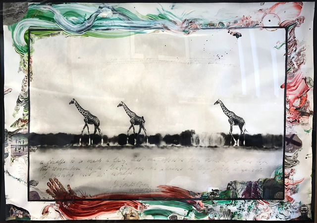 Peter Beard, 'Giraffes in Mirage on the Taru Desert, Kenya', 1960. Printed/ Annotated later , Chase Contemporary