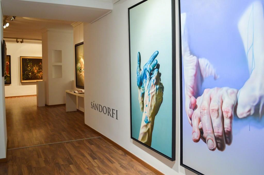 Enterance with Etienne Sandorfi's paintings