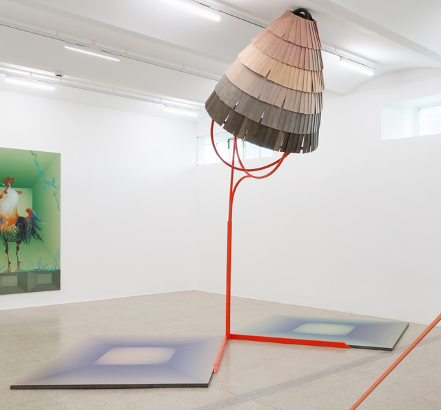 Anne Speier, 'Interessant', 2018, Sculpture, Screen print on PVC, lacquered steel, wood, Galerie Meyer Kainer