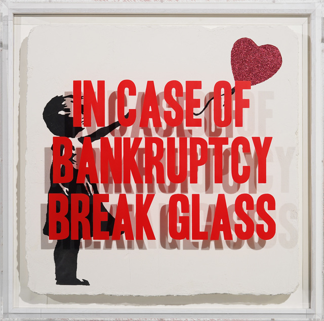 Thirsty Bstrd, 'In case of Bankruptcy - Girl with Balloon Red Glitter', 2020, Painting, Mixed media spray paint on plaster and plexiglas box, Bel-Air Fine Art