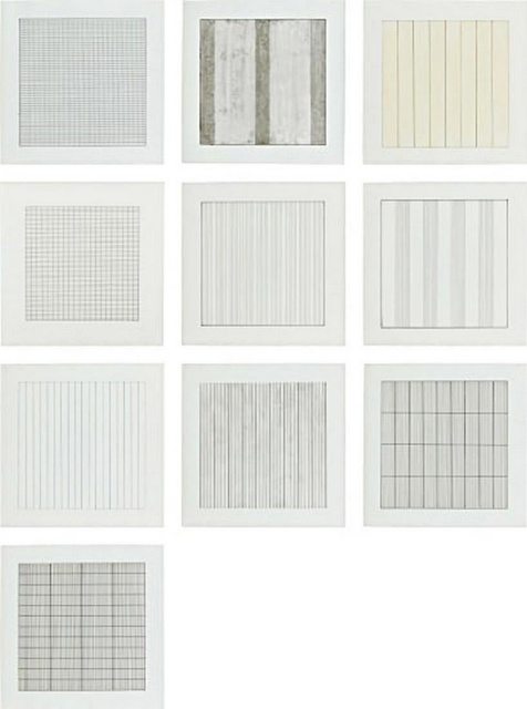 Agnes Martin, 'Paintings and Drawings, 1974-1990, a Portfolio of 10 Lithographs for the Stedelijk Museum', 1991, Print, The complete set of 10 lithographs in colours, on vellum parchment paper, with full margins, with text, the sheets loose (as issued) all contained in the original grey card portfolio with printed uppers., Alpha 137 Gallery