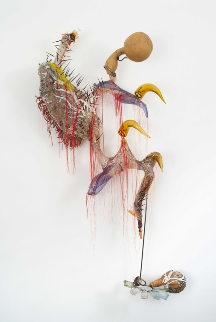 Rina Banerjee, 'Out of hollowness of world She punctured tight twisted curled horn, meaty teeth a wagon of emotion', 2017, Galerie Nathalie Obadia