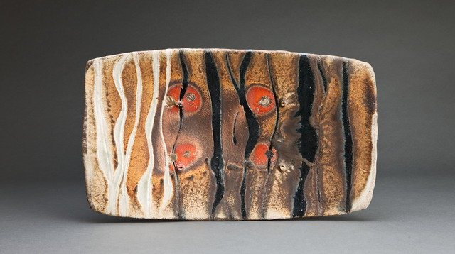, 'Rectangular platter, natural ash glaze with black and white trailing,' , Pucker Gallery