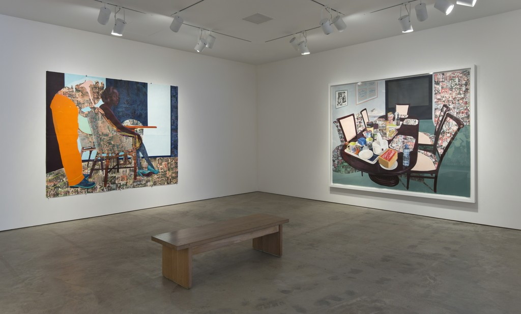 Caption: Installation view of Hammer Projects: Njideka Akunyili Crosby. October 3, 2015–January 10, 2016. Hammer Museum, Los Angeles. Photo: Brian Forrest.